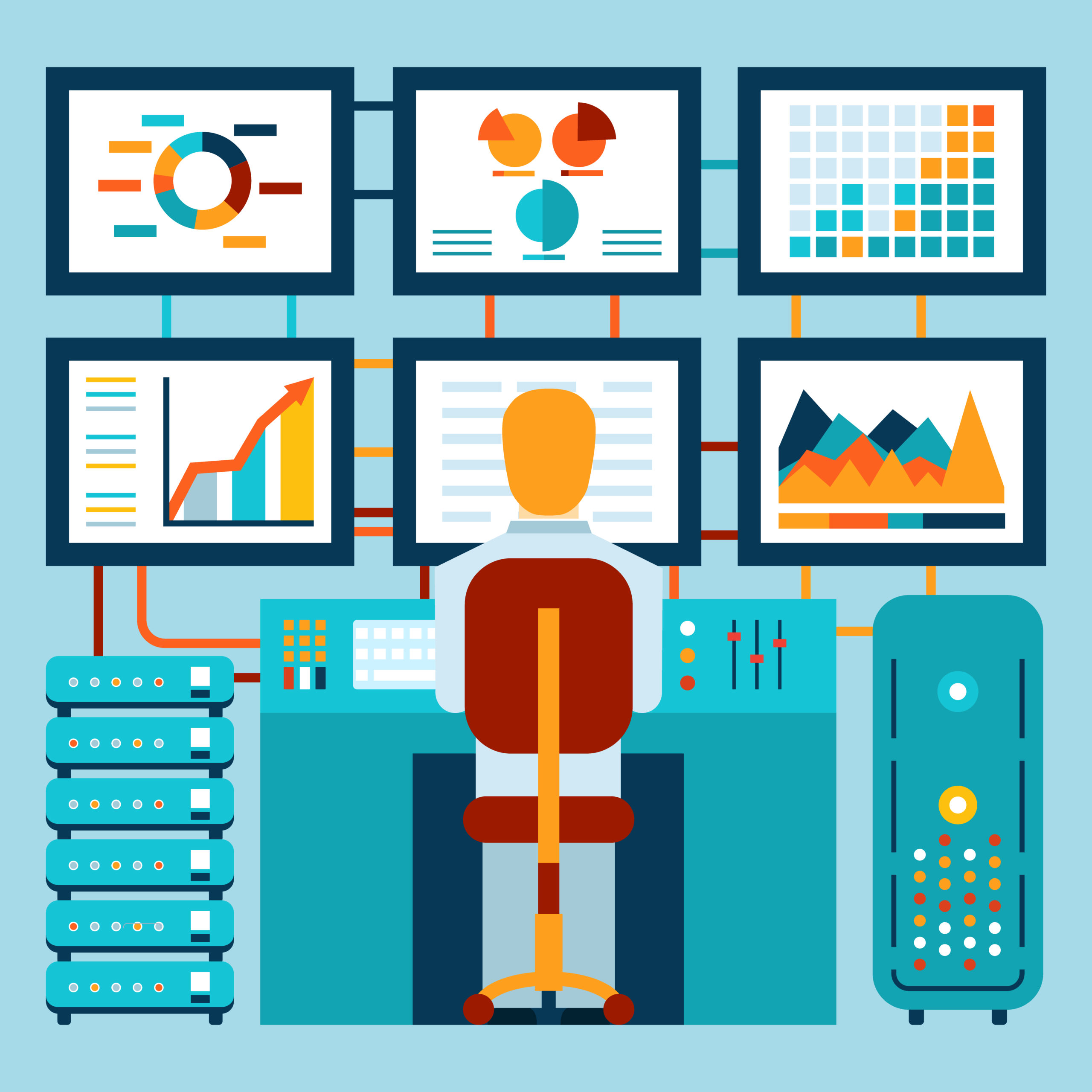 Analysis of information on dashboard in flat style. Vector illustration
